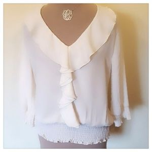 RUE 21 Cream Colored Ruffle Front Blouse